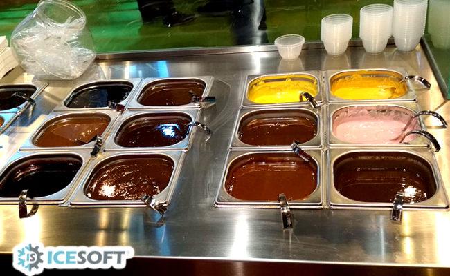 chocolates calientes y siropes frios mesa