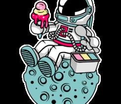 astronauta comiendo helado